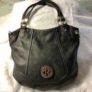 Relic by Fossil Black Faux Leather Tote
